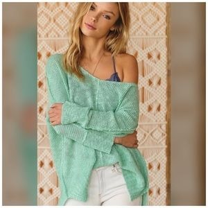 Fabulous Mint Green Soft Luxe V Neck Knit Sweater